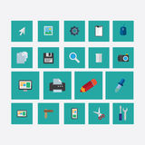 Το σύνολο εικονιδίων σε ένα θέμα σχεδιάζει πράσινο Ελεύθερη απεικόνιση δικαιώματος