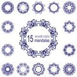 Το σύνολο δεκαπέντε περιβάλλει ή mandalas διανυσματική απεικόνιση