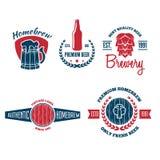 Το σύνολο εκλεκτής ποιότητας λογότυπου, διακριτικού, εμβλήματος ή logotype στοιχείων για την μπύρα, κατάστημα, σπίτι παρασκευάζει απεικόνιση αποθεμάτων