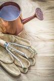 Το σύνολο εκλεκτής ποιότητας ποτίσματος μπορεί μέταλλο να μαζεψει με τη τσουγκράνα τα γάντια κηπουρικής στο woode Στοκ Φωτογραφίες