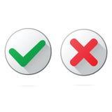 Το σύνολο εντάξει και ακυρώνει τα πλαστικά εικονίδια κουμπιών, Στοκ εικόνα με δικαίωμα ελεύθερης χρήσης