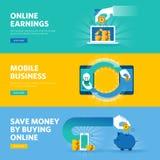 Το σύνολο επίπεδων εμβλημάτων Ιστού σχεδίου γραμμών για on-line να κερδίσει, πληρώνει ανά κρότο, κινητή επιχείρηση, μ-εμπόριο Στοκ εικόνα με δικαίωμα ελεύθερης χρήσης
