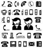 Το σύνολο επικοινωνίας/μας έρχεται σε επαφή με εικονίδια Στοκ φωτογραφία με δικαίωμα ελεύθερης χρήσης