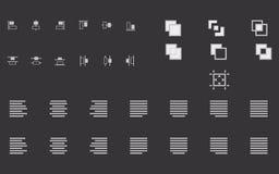 Το σύνολο ευθυγραμμίζει τις μορφές, το κείμενο και τα εικονίδια αντικειμένων για τον ιστοχώρο Στοκ εικόνα με δικαίωμα ελεύθερης χρήσης
