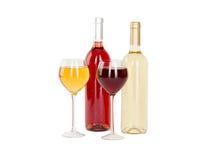 Το σύνολο λευκού και αυξήθηκε μπουκάλια κρασιού, glas. Στοκ Φωτογραφία