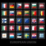 Το σύνολο ευρωπαϊκής ένωσης σημαιοστολίζει τα εικονίδια Στοκ φωτογραφία με δικαίωμα ελεύθερης χρήσης