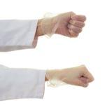 Το σύνολο θηλυκού γιατρών παραδίδει απομονωμένο το λευκό υπόβαθρο Στοκ Εικόνες