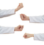 Το σύνολο θηλυκού γιατρών παραδίδει απομονωμένο το λευκό υπόβαθρο Στοκ εικόνες με δικαίωμα ελεύθερης χρήσης