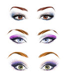 Το σύνολο θηλυκών ματιών και brows η εικόνα με υπέροχα τη μόδα αποτελούν Απεικόνιση μόδας Πράσινα μάτια μπλε μάτια Καφετιά μάτια Στοκ Φωτογραφία