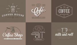 Το σύνολο διανυσματικής απεικόνισης στοιχείων καφέ και εξαρτημάτων καφέ μπορεί να χρησιμοποιηθεί ως λογότυπο Στοκ φωτογραφία με δικαίωμα ελεύθερης χρήσης