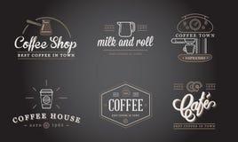 Το σύνολο διανυσματικής απεικόνισης στοιχείων καφέ και εξαρτημάτων καφέ μπορεί να χρησιμοποιηθεί ως λογότυπο Στοκ Φωτογραφία