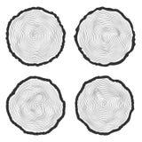 Το σύνολο διανυσματικού δέντρου τέσσερα χτυπά το υπόβαθρο και είδε να κόψει τον κορμό δέντρων Στοκ Εικόνες