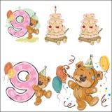 Το σύνολο διανυσματικών απεικονίσεων με καφετή teddy αντέχει, κέικ και αριθμός 9 γενεθλίων ελεύθερη απεικόνιση δικαιώματος
