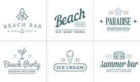 Το σύνολο διανυσματικών στοιχείων φραγμών θάλασσας παραλιών και το καλοκαίρι μπορούν να χρησιμοποιηθούν ως λογότυπο Στοκ Φωτογραφία