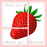 Το σύνολο καρτών με τις λέξεις σας αγαπά και σας ευχαριστεί, φράουλα στο υπόβαθρο Στοκ Φωτογραφίες