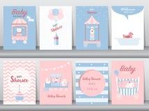 Το σύνολο καρτών πρόσκλησης ντους μωρών, κάρτες γενεθλίων, αφίσα, πρότυπο, ευχετήριες κάρτες, χαριτωμένες, αντέχει, εκπαιδεύει, α Στοκ Εικόνες