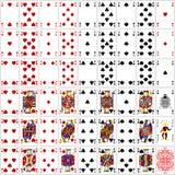 Το σύνολο καρτών πόκερ έθεσε στο χρώμα τέσσερα το κλασικό σχέδιο στοκ εικόνα