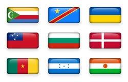 Το σύνολο κόσμου σημαιοστολίζει τα κουμπιά Κομόρες ορθογωνίων Λαϊκή Δημοκρατία του Κογκό Ουκρανία Σαμόα, Βουλγαρία Δανία Cameroo ελεύθερη απεικόνιση δικαιώματος