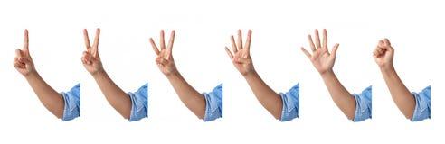 το σύνολο μετρώντας μπροστινών χεριών υπογράφει με έναν αγκώνα σε ένα πουκάμισο Jean , Στοκ Εικόνες
