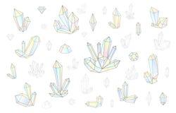 Το σύνολο 18 μόδα χρωμάτισε λαμπρά το ύφος διαμαντιών hipster Μοντέρνο κρύσταλλο Στοκ φωτογραφία με δικαίωμα ελεύθερης χρήσης