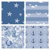 Το σύνολο ναυτικού 4 τα άνευ ραφής σχέδια Στοκ εικόνες με δικαίωμα ελεύθερης χρήσης