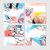 Το σύνολο ντους μωρών προσκαλεί, διανυσματικά ασυνήθιστα πρότυπα Floral κάρτες Boho με τα λουλούδια, βέλη, φτερά, κλάδοι, χέρι Στοκ φωτογραφίες με δικαίωμα ελεύθερης χρήσης