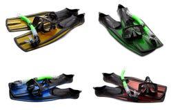 Το σύνολο πολύχρωμου κολυμπά τα πτερύγια, καλύπτει και κολυμπά με αναπνευτήρα για την κατάδυση Στοκ Εικόνα
