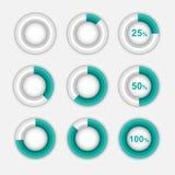 Το σύνολο πράσινου διαγράμματος πιτών, περιβάλλει το infographic διάνυσμα Στοκ εικόνες με δικαίωμα ελεύθερης χρήσης