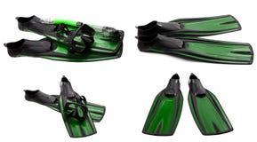 Το σύνολο πράσινου κολυμπά τα πτερύγια, καλύπτει και κολυμπά με αναπνευτήρα για την κατάδυση Στοκ Εικόνες