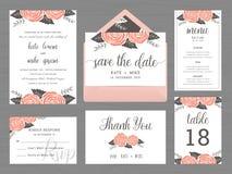 Το σύνολο προτύπου γαμήλιας ακολουθίας διακοσμεί με το ροδαλό λουλούδι Στοκ φωτογραφία με δικαίωμα ελεύθερης χρήσης