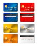 Το σύνολο ρεαλιστικών πιστωτικών καρτών και από τις δύο πλευρές στα διαφορετικά σχέδια περιλαμβάνει το χρυσό και το λευκόχρυσο στ απεικόνιση αποθεμάτων