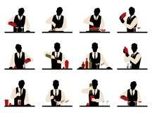 Το σύνολο σκιαγραφιών bartender προετοιμάζει το διάνυσμα κοκτέιλ stoc διανυσματική απεικόνιση