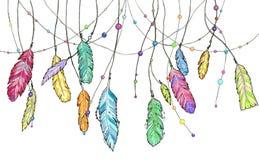 Το σύνολο συρμένων χέρι φτερών watercolor σκίτσων που ταλαντεύονται κερδίζει Στοκ Εικόνες