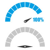 Το σύνολο ταχυμέτρου ή μετρητή εκτίμησης υπογράφει το infographic στοιχείο μετρητών με τα τοις εκατό 100 Στοκ Εικόνες