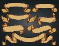 Το σύνολο τρύού, χέρι πνίγει, αναδρομικές κορδέλλες στο σκοτεινό υπόβαθρο διάνυσμα Στοκ εικόνες με δικαίωμα ελεύθερης χρήσης