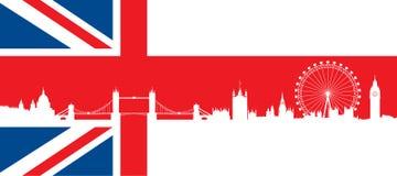 Βρετανική σημαία με τον πολύ λεπτομερή ορίζοντα του Λονδίνου σκιαγραφιών Στοκ φωτογραφία με δικαίωμα ελεύθερης χρήσης