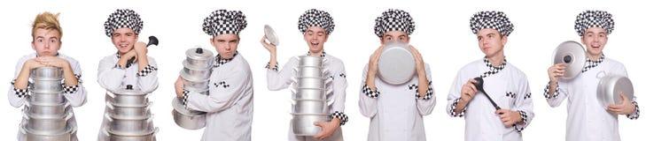 Το σύνολο φωτογραφιών με τον αστείο μάγειρα Στοκ Εικόνα