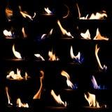 Το σύνολο φλογών πυρκαγιάς απομόνωσε το μαύρο υπόβαθρο Στοκ φωτογραφίες με δικαίωμα ελεύθερης χρήσης