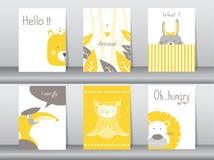 Το σύνολο χαριτωμένης αφίσας ζώων, πρότυπο, κάρτες, αντέχει, πουλί, λιοντάρι, κουνέλι, ζωολογικός κήπος, διανυσματικές απεικονίσε Στοκ Φωτογραφία
