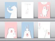 Το σύνολο χαριτωμένης αφίσας ζώων, σχέδιο για την ημέρα βαλεντίνων ` s, πρότυπο, κάρτες, αντέχει, διανυσματικές απεικονίσεις Στοκ εικόνες με δικαίωμα ελεύθερης χρήσης