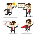Το σύνολο χαριτωμένων επιχειρηματία χαρακτήρων και εργαζομένου γραφείων θέτει διάνυσμα Χαρακτήρας διευθυντών βέλος ήρωας Φλυτζάνι Στοκ φωτογραφία με δικαίωμα ελεύθερης χρήσης