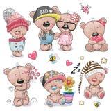 Το σύνολο χαριτωμένων κινούμενων σχεδίων Teddy αντέχει ελεύθερη απεικόνιση δικαιώματος