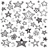 Το σύνολο χεριού που σύρεται doodle περιγράφει τη διανυσματική απεικόνιση αστεριών Στοκ Εικόνες