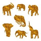 Το σύνολο χεριού που σύρθηκε απομόνωσε τους εθνικούς ελέφαντες ελεύθερη απεικόνιση δικαιώματος