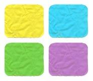 Το σύνολο χρώματος τσαλάκωσε τα μικρά τετραγωνικά φύλλα εγγράφου με το στρογγυλευμένο πυρήνα Στοκ Εικόνες