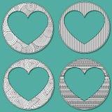 Το σύνολο uncolored καρδιάς 4 διαμόρφωσε το πλαίσιο στο ύφος τέχνης zen με τη θέση για το κείμενο ή τη φωτογραφία Γαμήλιες κάρτες Στοκ εικόνα με δικαίωμα ελεύθερης χρήσης