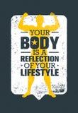 Το σώμα σας είναι μια αντανάκλαση του τρόπου ζωής σας Απόσπασμα κινήτρου Workout και ικανότητας Δημιουργική διανυσματική αφίσα τυ Στοκ φωτογραφία με δικαίωμα ελεύθερης χρήσης