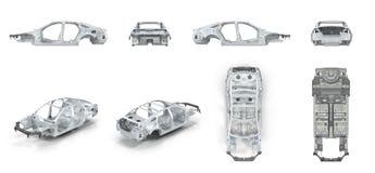 Το σώμα του αυτοκινήτου προετοιμάστηκε για την παραγωγή Στο λευκό δίνει το σύνολο από τις διαφορετικές γωνίες σε ένα λευκό τρισδι Στοκ Φωτογραφία