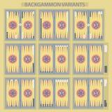 Το τάβλι στο ξύλινο κιβώτιο, πίνακας με το είδος δύο χωρίζει σε τετράγωνα και τσιπ Παραλλαγές ταβλιών διανυσματική απεικόνιση