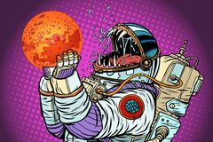 Το τέρας αστροναυτών τρώει τον Άρη Πλεονεξία και πείνα της έννοιας ανθρωπότητας ελεύθερη απεικόνιση δικαιώματος